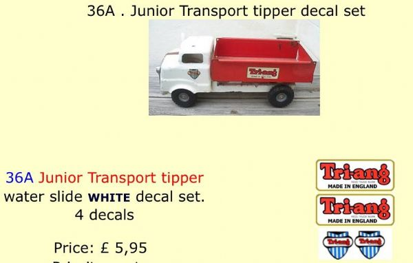 36A . Tri-ang Junior Transport tipper decal set